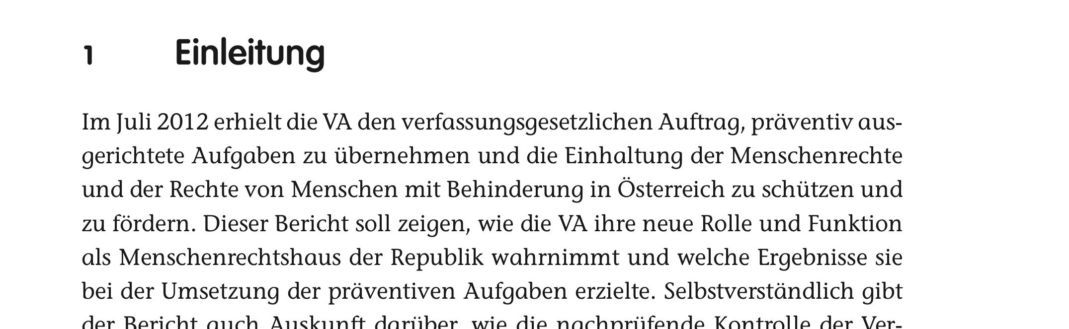 Auszug aus Bericht der Volksanwaltschaft