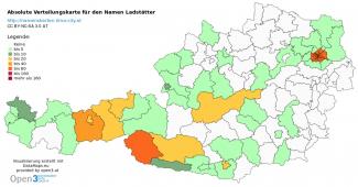 Wo wohnen Personen mit dem Namen Ladstätter? Absolute Verteilung