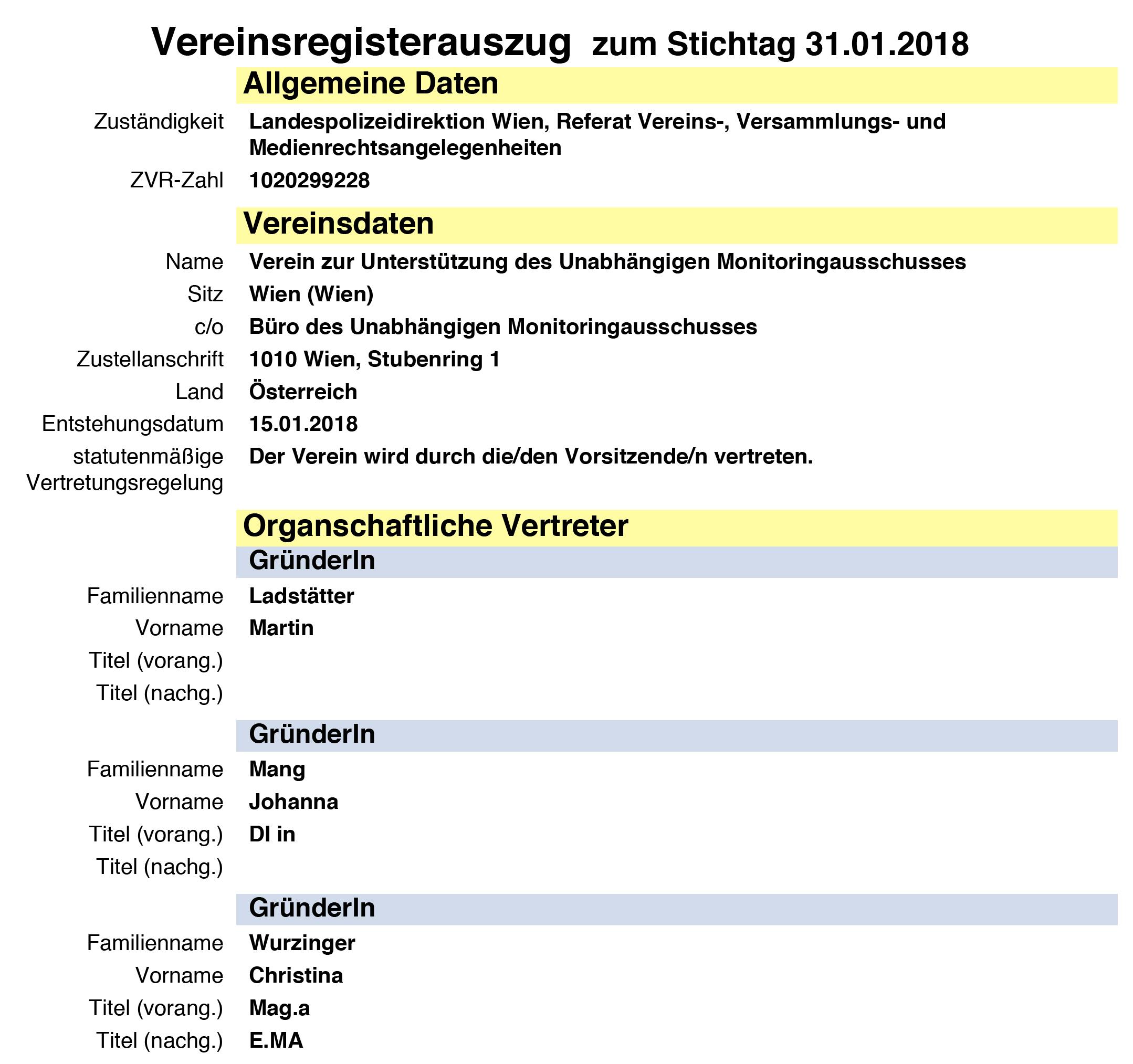 """Vereinsregisterauszug """"Verein zur Unterstützung des Unabhängigen Monitoringausschusses"""" - GründerInnen: Martin Ladstätter, Johanna Mang, Christina Wurzinger"""