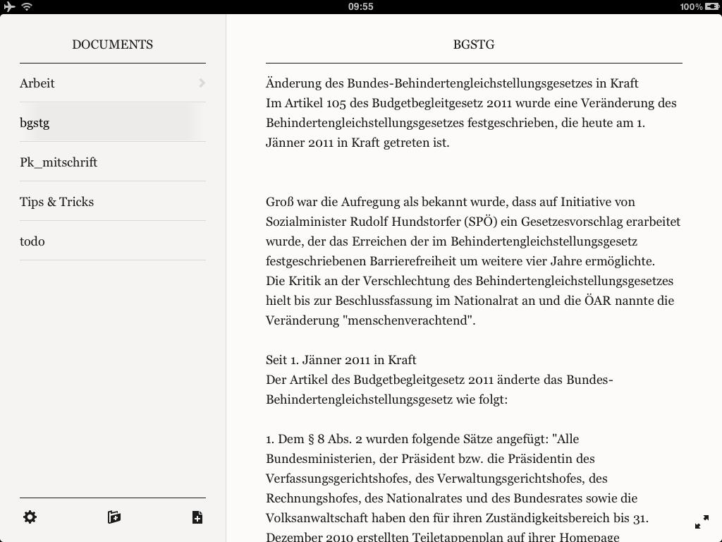 Beispielseite der App Plaintext - Artikel schreiben