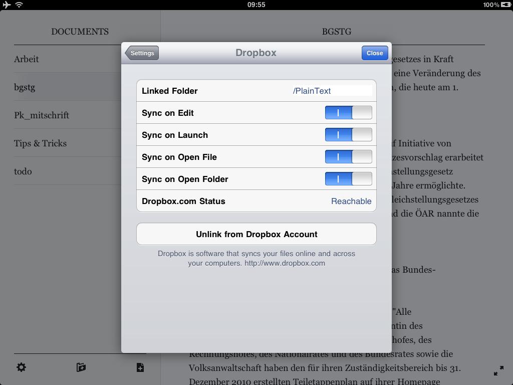 Beispielseite der App Plaintext - Einstellungen Dropbox