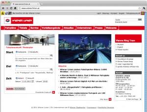 Homepage der Wiener Linien (Stand Jänner 2011)
