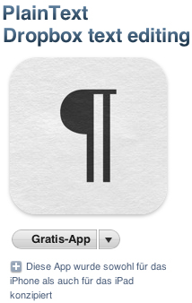 PlainText - Dropbox text editing ist gratis im iTunes Store