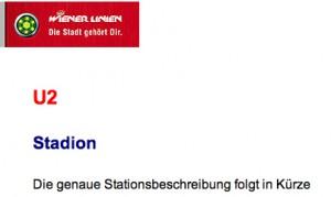 Informationen zur U2-Station Stadion