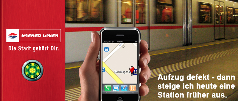 App für Status der Aufzüge in Wien / fiktive Werbun