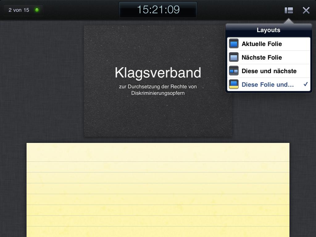 Beispiel einer keynote-Ansicht am iPad (aktuelle Folie mit Platz für Notizen)