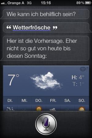 """Screenshot von SIRI - er verstand """"Wetterfrosch"""""""