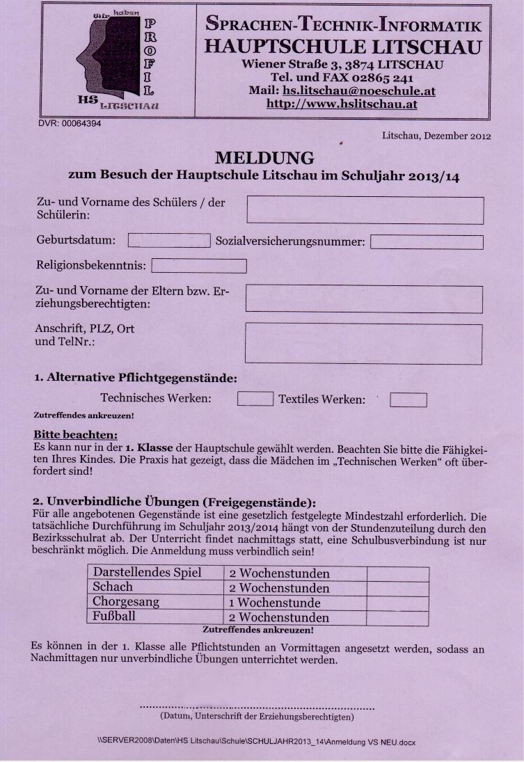 Anmeldung Hauptschule