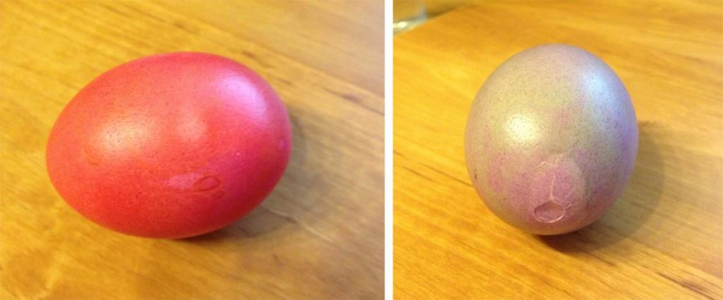 Eier gitschen; links mein unbeschädigte Siegerei; rechts ein kaputtes Ei.