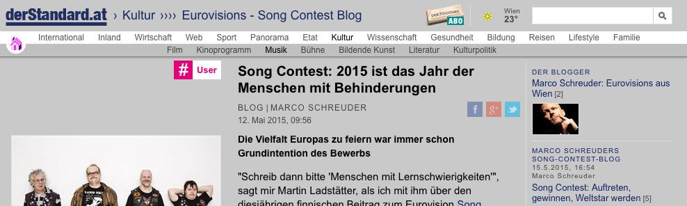 Song Contest: 2015 ist das Jahr der Menschen mit Behinderungen