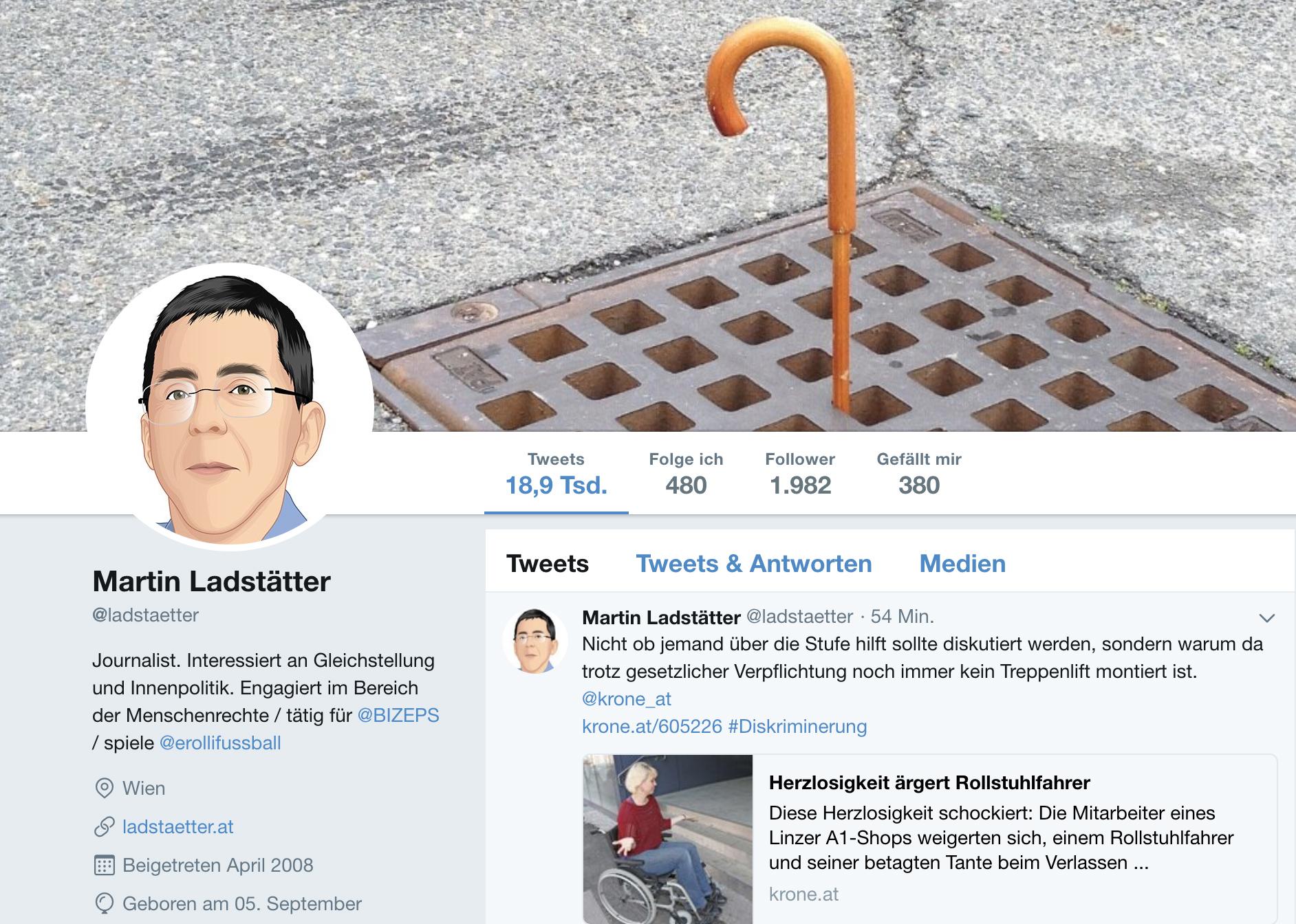 Startseite von Twitter von Martin Ladstätter