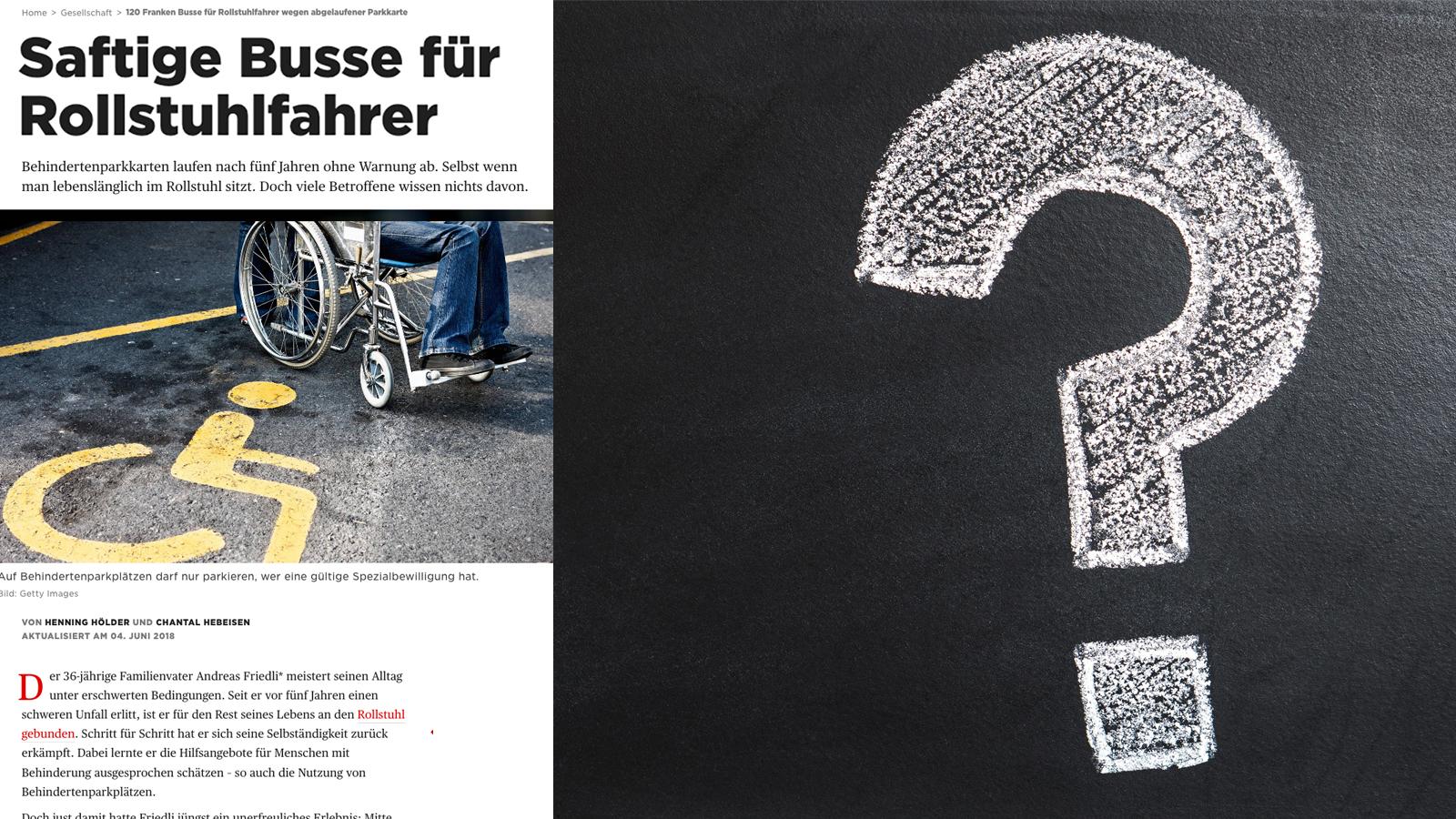 Überschrift: Saftige Busse für Rollstuhlfahrer