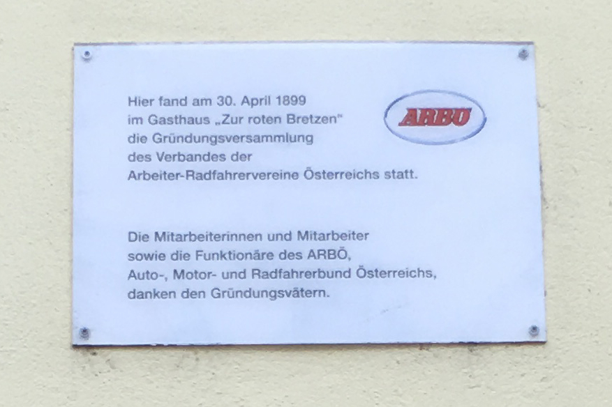 ARBÖ Gedenktafel in der Brunnengasse, 1160 Wien
