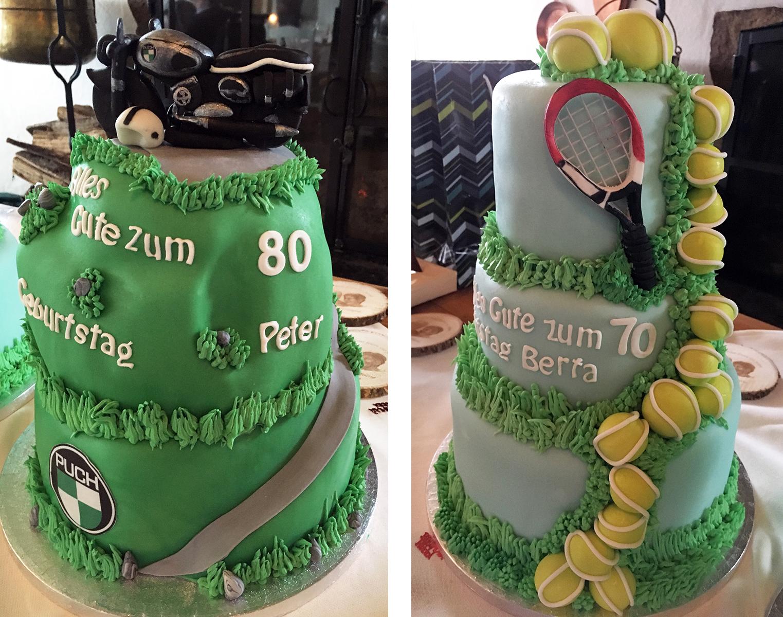 Geburtstagstorte mit Tennis-Motiv und Puch-Motiv