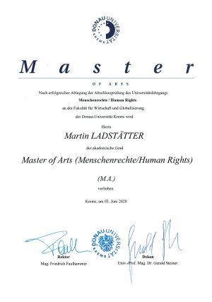 Verleihungsurkunde (Master) an Martin Ladstätter (Menschenrechte/Human Rights)
