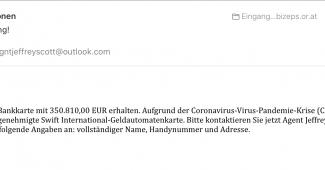 UNO schreibt: Sie haben eine Bankkarte mit 350.810,00 EUR erhalten. Aufgrund der Coronavirus-Virus-Pandemie-Krise (COVID-19) senden wir Ihnen eine genehmigte Swift International-Geldautomatenkarte. Bitte kontaktieren Sie jetzt Agent Jeffrey. Bitte geben Sie folgende Angaben an: vollständiger Name, Handynummer und Adresse.