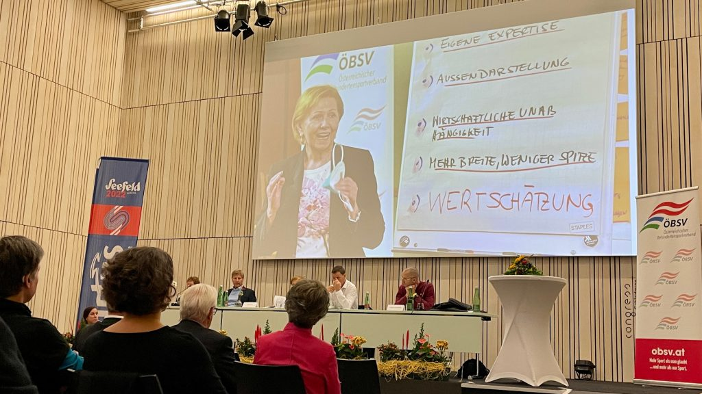 ÖBSV-Präsidentin Brigitte Jank bei der GV am 9. Oktober 2021